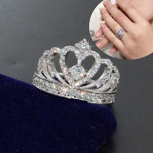 NWT! White Gold Plated Queen Princess Crown Ring